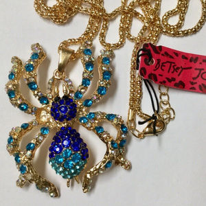 Betsey Johnson blue crystal spider necklace gold
